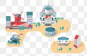 Flat Town Thumbnails - Cartoon Illustration PNG