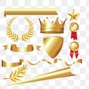 Metal Material,Tyrant Gold,Imperial Crown,Colored Ribbon,label - Laurel Wreath Crown Bay Laurel Euclidean Vector PNG