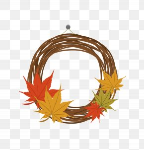 Fall Wreath Material - Leaf Autumn Wreath Computer File PNG