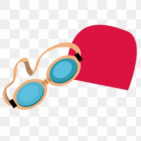 Goggles And Swimming Cap - Goggles Glasses Swim Cap Swimming Clip Art PNG