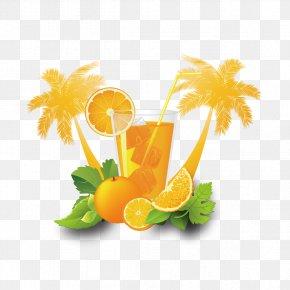 Vector Coconut Trees And Orange Juice - Cocktail Juice Flyer Fanta Poster PNG