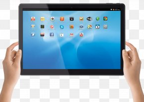 Hand With Tablet - Laptop Netbook Mobile Phones Android Handheld Devices PNG