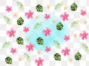 Hawaiian Style Flowers Palm Leaf - Hawaii PNG