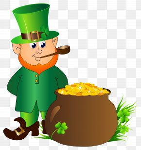 Leprechaun With Pot Of Gold Transparent PNG Clip Art Image - Leprechaun Saint Patrick's Day Clip Art PNG