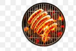 Grilled Sausages On Iron Plate - Sausage Bratwurst Barbecue Grilling Steak PNG