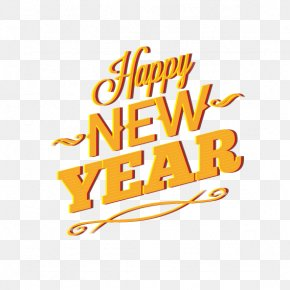 Yellow English WordArt Happy New Year - New Year Euclidean Vector PNG