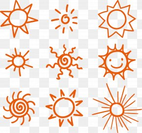 9 Hand-painted Sun Vector Material - Cartoon PNG