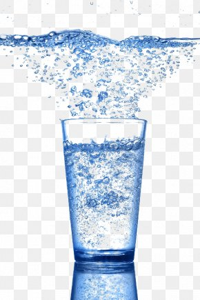 Blue Water Glass Bubble - Carbonated Water Glass Bubble PNG