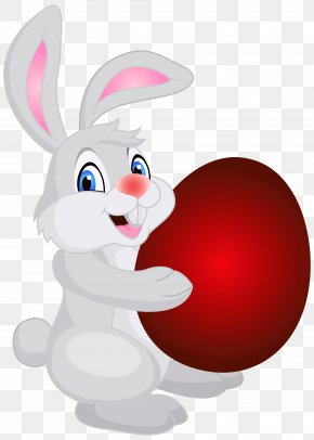 Bunny With Easter Egg Clip Art Image - Easter Bunny Domestic Rabbit Red Easter Egg Clip Art PNG