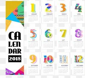 Color Abstract Geometry Calendar 2018 Desk Calendar - Calendar Personal Organizer Template PNG