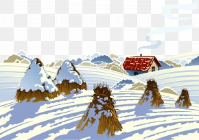 Vector Hand-painted Winter Snow - Snow Landscape Winter Illustration PNG