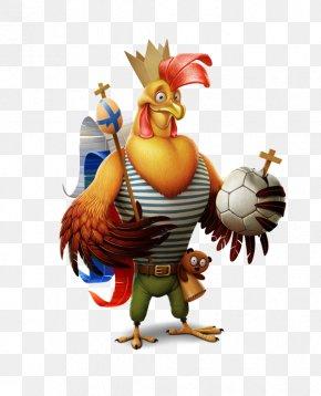 Holding A Football Rooster - Chicken Illustrator Cartoon Illustration PNG