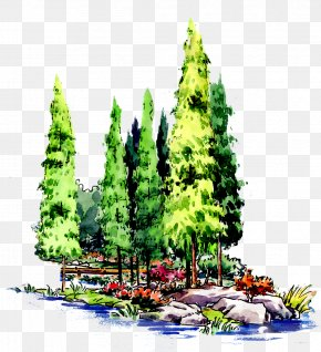 Flat Style Synthetic Painting Of Synthetic Forest - Forest Tree Landscape Architecture PNG
