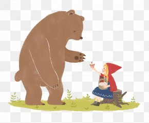 Little Red Riding Hood And The Big Brown Bear - Brown Bear Cartoon Illustration PNG