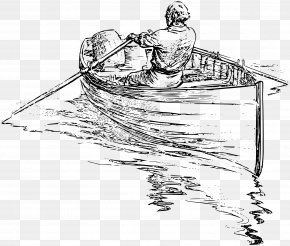 Wooden Boat - Rowing Drawing Boat Clip Art PNG