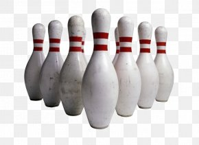 Neatly Placed White Bowling Pins - Bowling Pin Bowling Ball Clip Art PNG
