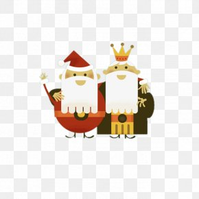 Cute Cartoon Santa Claus And The King - Santa Claus Cartoon King PNG