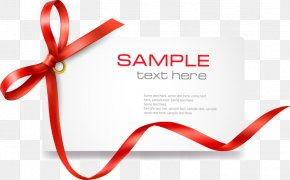 Red Bow Line Card - Template Coupon Gift Card Clip Art PNG