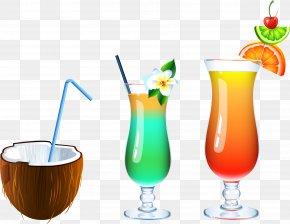 Summer Drinks Vector Material Coconut Juice - Cocktail Juice Soft Drink Milkshake Screwdriver PNG