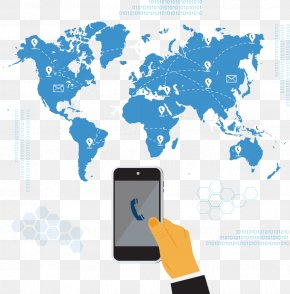 Vector Map And Phone - Globe World Map Vector Map PNG