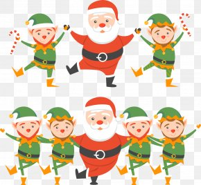 Vector Santa Claus With Children - Santa Claus Christmas Elf Elf Yourself PNG