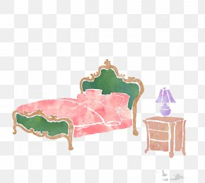 Stained Water Bed And Nightstand - Watercolor Painting Drawing PNG