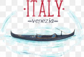 Vector Boat On The Lake - Venice Boat Watercolor Painting PNG