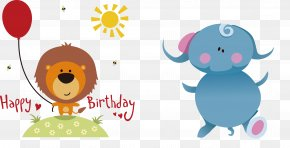 Elephants Draw Children, Draw Pictures - Happy Birthday To You Greeting Card Clip Art PNG