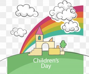 Cartoon Castle Scenery, Children's Day, LOGO - Children's Day Computer File PNG