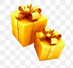 Golden Gift Box - Gift Box Keychain Gold Ribbon PNG