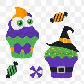 Halloween Ice Cream - Ice Cream Cupcake Halloween Candy Corn Clip Art PNG