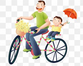 Father And Daughter Cycling - Daughter Father Birthday Wish Parent PNG