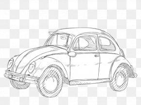 Car - Volkswagen Beetle Vintage Car Automotive Design Sketch PNG