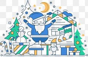 Vector Blue Santa - Santa Claus Candy Cane Christmas Illustration PNG