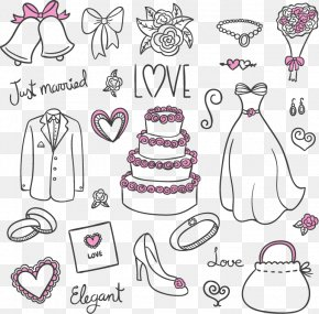 23 Wedding Design Elements Vector Material - Wedding Dress Euclidean Vector Bride PNG