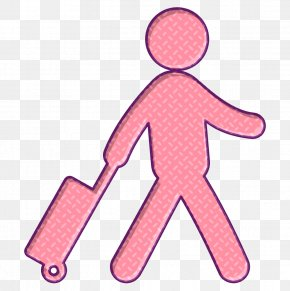 Pink Traveler With A Suitcase Icon - Humans Icon People Icon Travel Icon PNG