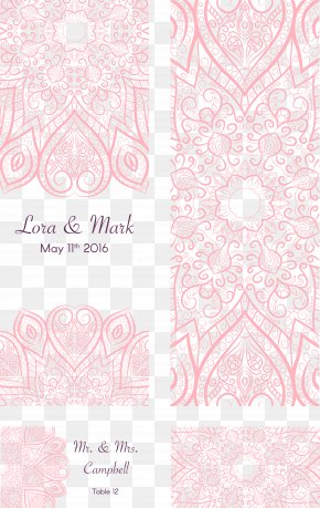 Romantic Wedding Invitation Pink Pattern - Visual Arts Pink Pattern PNG