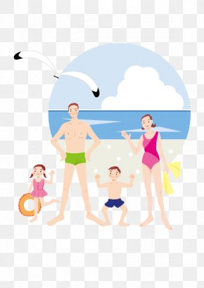 Family Beach Vacation - Vacation Illustration PNG