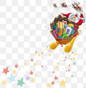 Santa Claus - Rudolph Santa Claus Reindeer Christmas Sled PNG