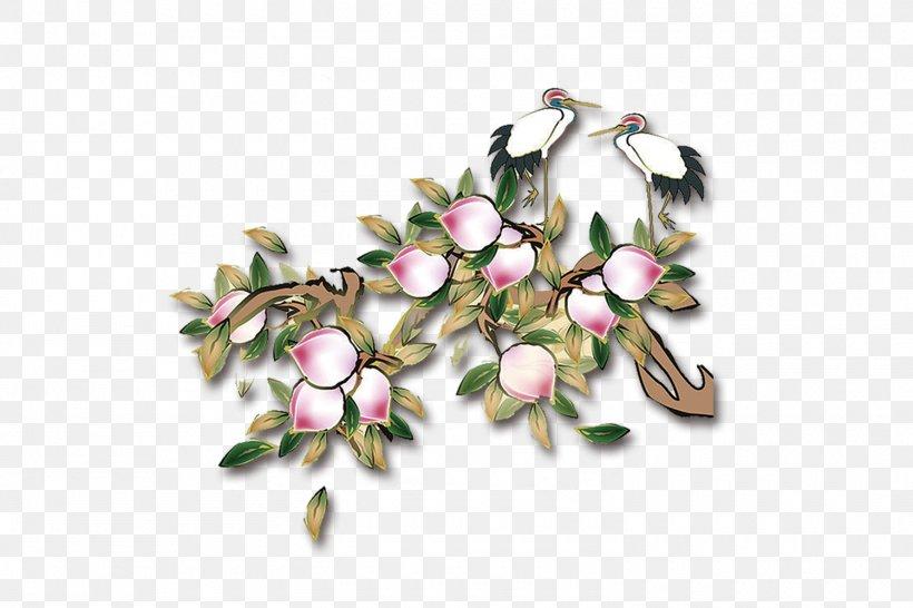 Xiantao Longevity Peach Saturn Peach Crane, PNG, 1500x1000px, Xiantao, Blossom, Branch, Cherry Blossom, Crane Download Free