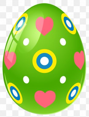 Green Easter Egg With Hearts Clipart Picture - Easter Bunny Easter Egg Clip Art PNG