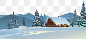 Winter House And Snow Ground Clipart Image - Snow House Clip Art PNG