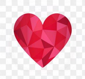 Red Diamond Heart - Heart Euclidean Vector Geometry PNG