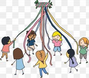 Children Are Vector - Maypole Child Dance Illustration PNG
