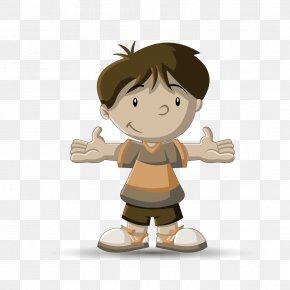 Cartoon Boy Welcome Gestures - Boy PNG