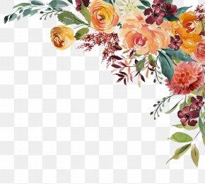 Autumn - Garden Roses Floral Design Watercolor Painting Clip Art PNG