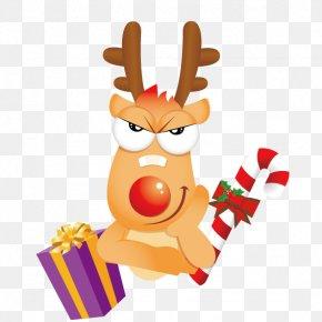 Christmas Cartoon Deer - Santa Claus Reindeer Christmas PNG