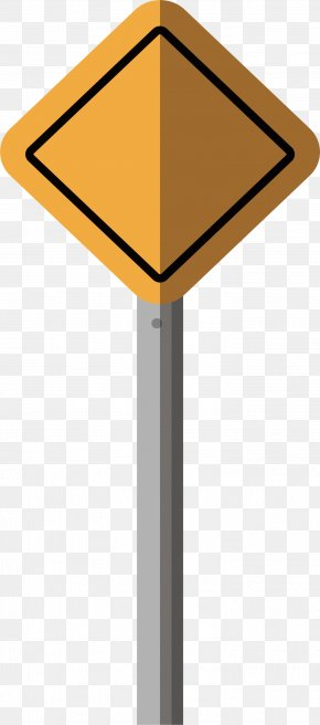 Yellow Quadrilateral Traffic Sign - Traffic Sign PNG
