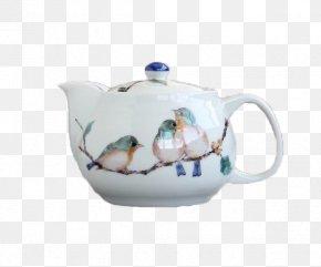 Japanese Nine Valley Sparrow Bird Teapot - Bird Jug Sparrow Teapot PNG