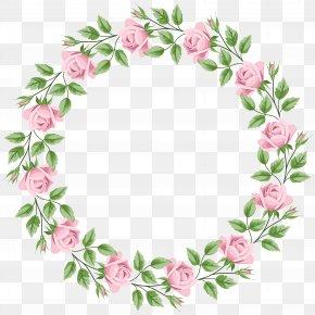 Pink Rose Border Frame Transparent Clip Art - Rose Clip Art PNG